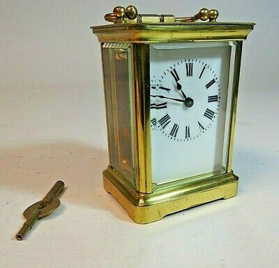 Superb Antique Brass Carriage Clock, by Couaillet, working