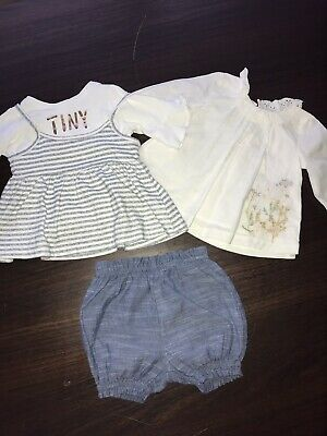 Baby Girls Next 2x Tops And Denim Shorts Outfit Up To 3 Months