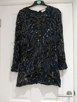 Stunning Frank Usher Navy Blue Long Sleeve Sequin Tunic Top - Worn Twice M 12/14