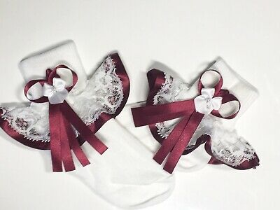Handmade burgundy trim white frilly lace socks baby/girls various sizes