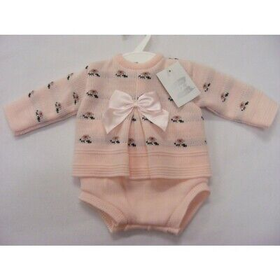 Baby Girls Spanish Romany Knitted Set Bow & Roses Design Jumper Jam Pants Outfit
