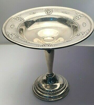 "Rose Point by Wallace sterling silver Pedestal Candy Dish 6.25"" tall"