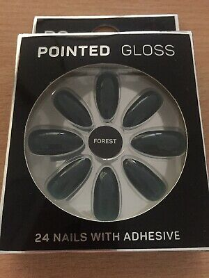 Forest Green Pointed Gloss False Nails