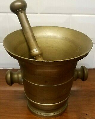 Mortar and Pestle Antique Brass French - Late 1800's Pharmacy Apothecary Vessel
