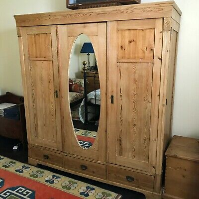 Antique Pine Large Triple Door Freestanding Wardrobe / Armoire