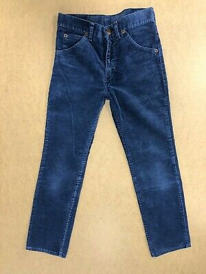 Ff927 Boys Wrangler Blue Straight Leg Cotton Cord Trousers Age 13 Years W25 L25