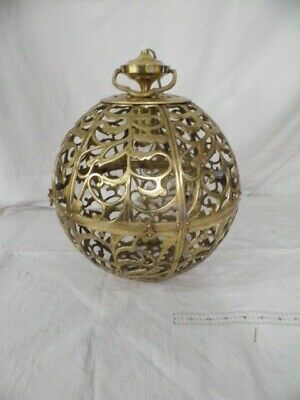 Solid Brass MCM Midcentury Modern Asian Dome Light Pendant