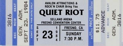 Quiet Riot Whitesnake 1984 Condition Critical Tour Unused Selland Arena Ticket