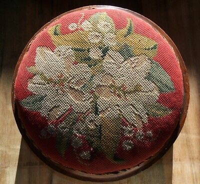 Antique Victorian FOOTSTOOL walnut floral cross-stitch tapestry Berlinwork wool