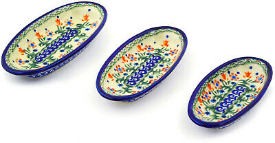 Polish Pottery Condiment set of 3 nesting dishes Spring Flowers