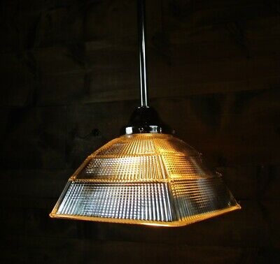 1930'S Antique Chrome Square Holophane Industrial Age Pyramid Pendant Light M5
