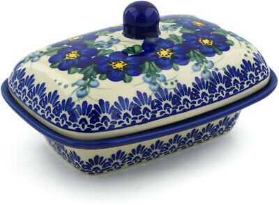 "Polish Pottery Butter Dish 7"" Blue Wildflower UNIKAT"