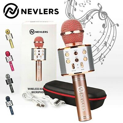 Nevlers Karaoke Microphone w/Wireless Bluetooth Speaker & Recording Option- Rose