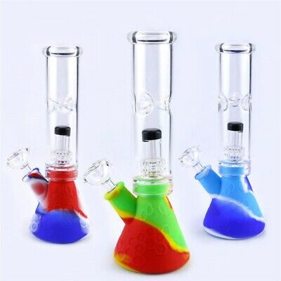 COLLECTIBLE 9mm Glass &Silicone Hookah Water Pipe Beaker Bong W/Perc & Ice catch