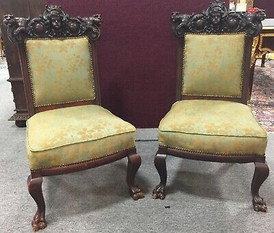 Pair of Carved Gothic Revival Chairs Circa 1890
