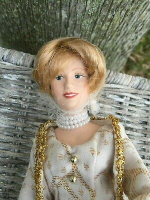 Vintage Princess Diana Porcelain Doll in Wedding Dress Evening Gown with Jacket
