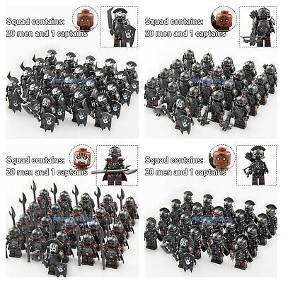 21pcs Orc Soldier Minifig Army Military Lord of The Rings Knight Lego Minifigure