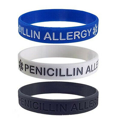 Penicillin Allergy Medical Alert Silicone Bracelet Wristband Jewelry Adult Kids