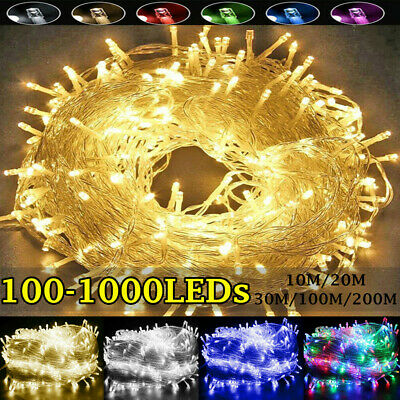 100-1000 LED Fairy String Christmas Tree Party Lights Lamp Xmas Wedding Decor