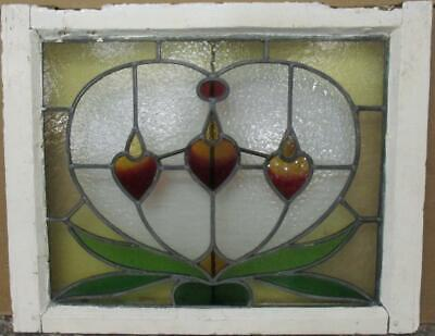 "MIDSIZE OLD ENGLISH LEADED STAINED GLASS WINDOW Abstract Heart 25.5"" x 20.25"""