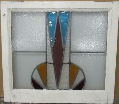 "MIDSIZE OLD ENGLISH LEAD STAINED GLASS WINDOW Stunning Geometric 24.75"" x 22.25"""