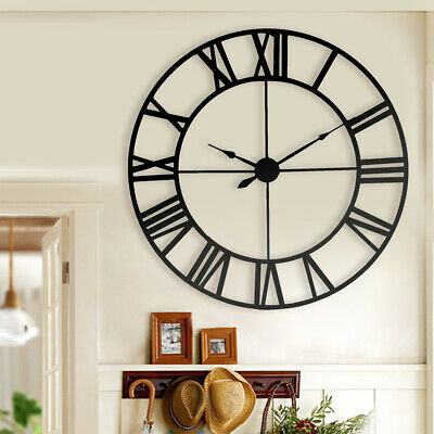 Extra Large Roman Numerals Wall Clock Metal Skeleton Open Round Face 40CM in Dia