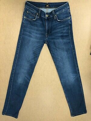 Ff948 Womens Lee Marion Straight Stretch Faded Blue Denim Jeans Uk 8-10 W27 L33