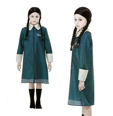 Girls Wednesday Addams Family Halloween Fancy Dress Costume Outfit 4-14 years