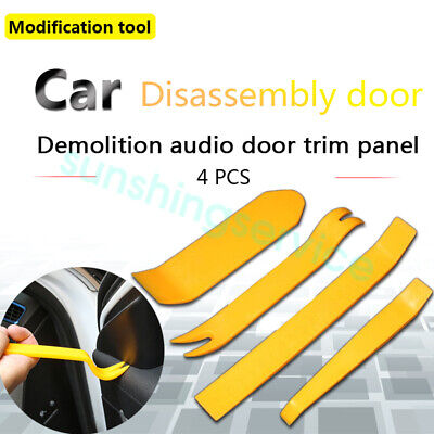 4pc Car Door Upholstery Remover Pry Bar & Panel Trim Clip Removal Plier Tool Set