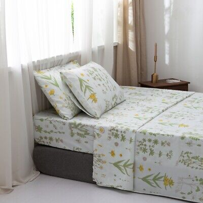 Floral Fitted Sheet+Flat Sheet+2 Pillowcases Set Double Queen King Size Bedding