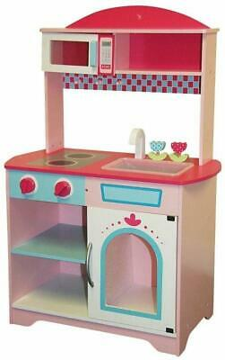 Wooden Classic Kitchen Kids Girls Boys Toy Playset with Oven Hob & Sink in Pink