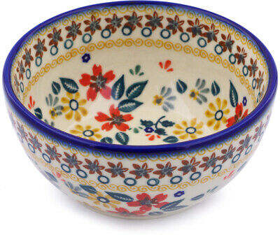 """Polish Pottery Bowl 5"""" Red Anemone Meadow"""