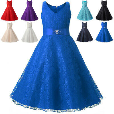 Flower Dress Girl Princess Dress Kid Pageant Party Lace Tulle Prom Sweet Formal