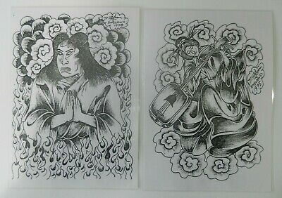 2 laminated derek higham vintage tattoo flash sheets reprints NOT MACHINE