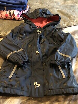 Girls Lupilu Blue Fleece Lined Waterproof Jacket Coat AGE 2-4 YEARS Heart Print