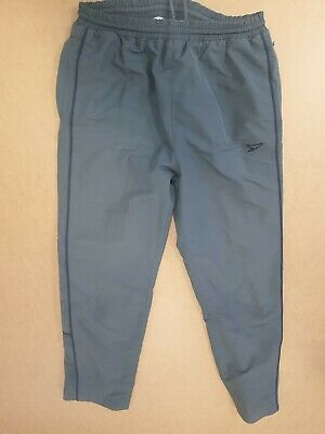 Gg32 Mens Reebok Grey Lined Drawstring Pockets Tracksuit Bottoms Uk M W32 L30