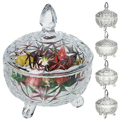 Clear Glass Sweet Chocolate Candy Bowl Dish Stand Serving Centrepiece With Lid