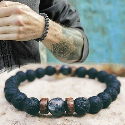 Fashion Men Natural Lava Rock Beads Tibetan Bud Volcanic Stone Bracelet Jewelry