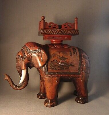 Large Caparisoned Elephant Carved Wood and Lacquer Okimono or Stand