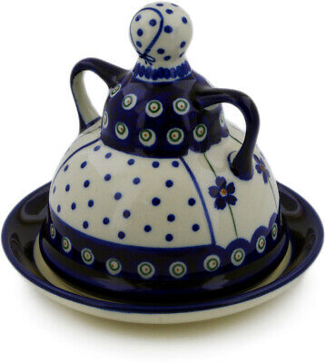 "Polish Pottery Cheese Lady 6"" Flowering Peacock"