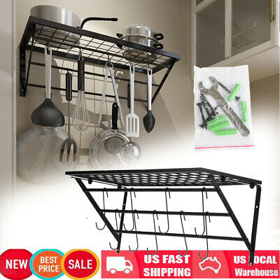 Pots and Pans Hanging Rack Wall Mount Iron Bookshelf Kitchen Small Space Dorm