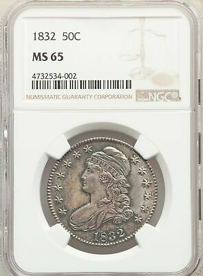 1832 US Silver 50C Capped Bust Half Dollar - NGC MS65
