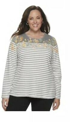 Croft & Barrow Classic Tee Top Shirt Gray Floral Long Sleeve  Plus Size 3x Nwt