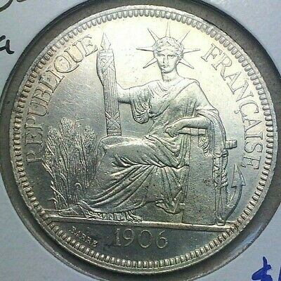 🔥 1906 🔥 French Indochine 1 Piastre Silver Crown size UNC KM #5a.1 🔥