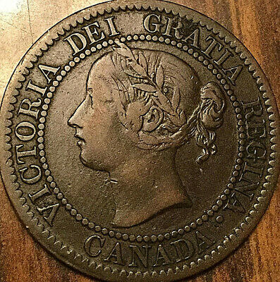 1859 CANADA LARGE CENT LARGE 1 CENT PENNY COIN - Nicer example!