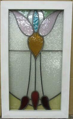 "MIDSIZE OLD ENGLISH LEADED STAINED GLASS WINDOW Pretty Abstract 15.75"" x 26.75"""