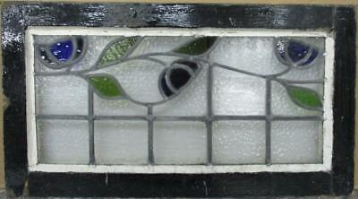 """OLD ENGLISH LEADED STAINED GLASS WINDOW TRANSOM Stunning Floral Vine 29"""" x 16"""""""