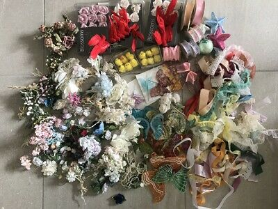 Vintage craft Lot Birds Butterflies Flowers Blossoms lace ribbons etc AS IS