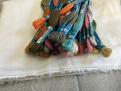 Embroidery Cross Stitch Craft SEMCO threads floss skeins Linen Fabric Lot