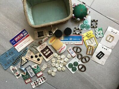 Vintage Sewing Basket Buttons Buckles Craft Collectable Haberdashery Notions